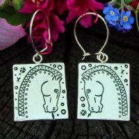 Horse earrings, polished silver